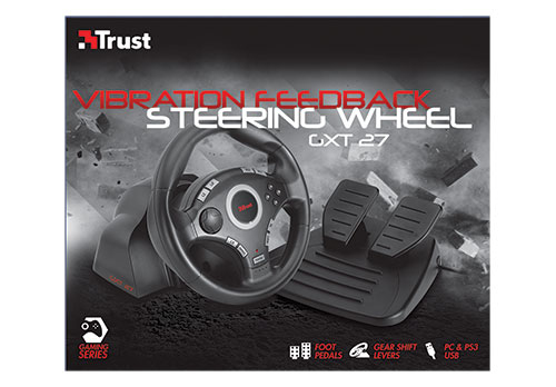 Trust Compact Vibration Feedback Steering Wheel PC-PS2-PS3 GM-3200