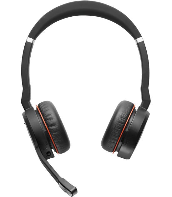 Jabra Evolve 75 MS Stereo Hodesett Hodebånd Bluetooth Svart, Rød