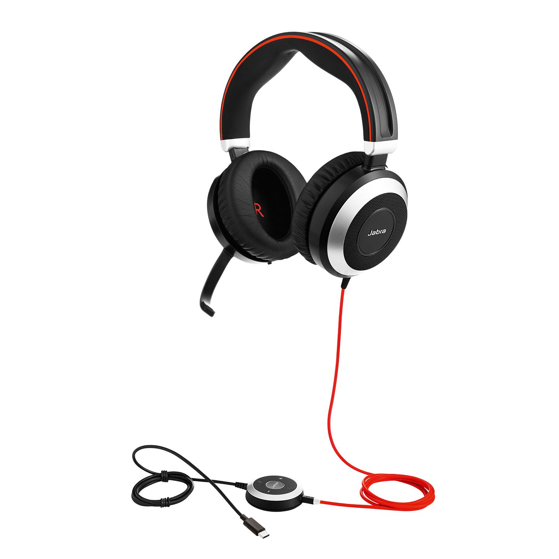 Jabra Evolve 80 Stereo MS USB-C Hodesett Hodebånd 3,5 mm-kontakt USB Type-C Svart