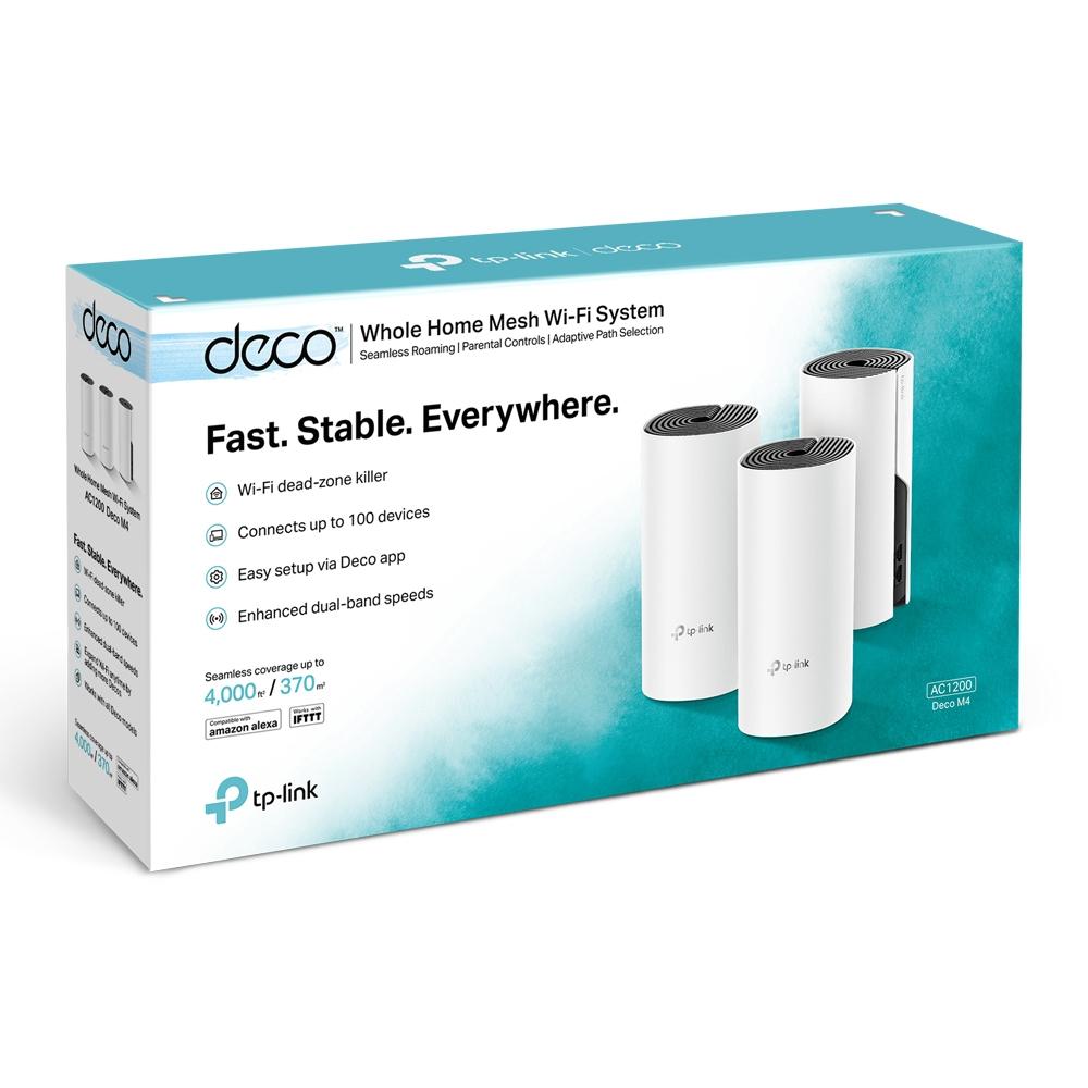 TP-LINK Deco M4(3-pack) Dobbelbånd (2.4 GHz / 5 GHz) Wi-Fi 5 (802.11ac) Hvit 2 Innvendig lys