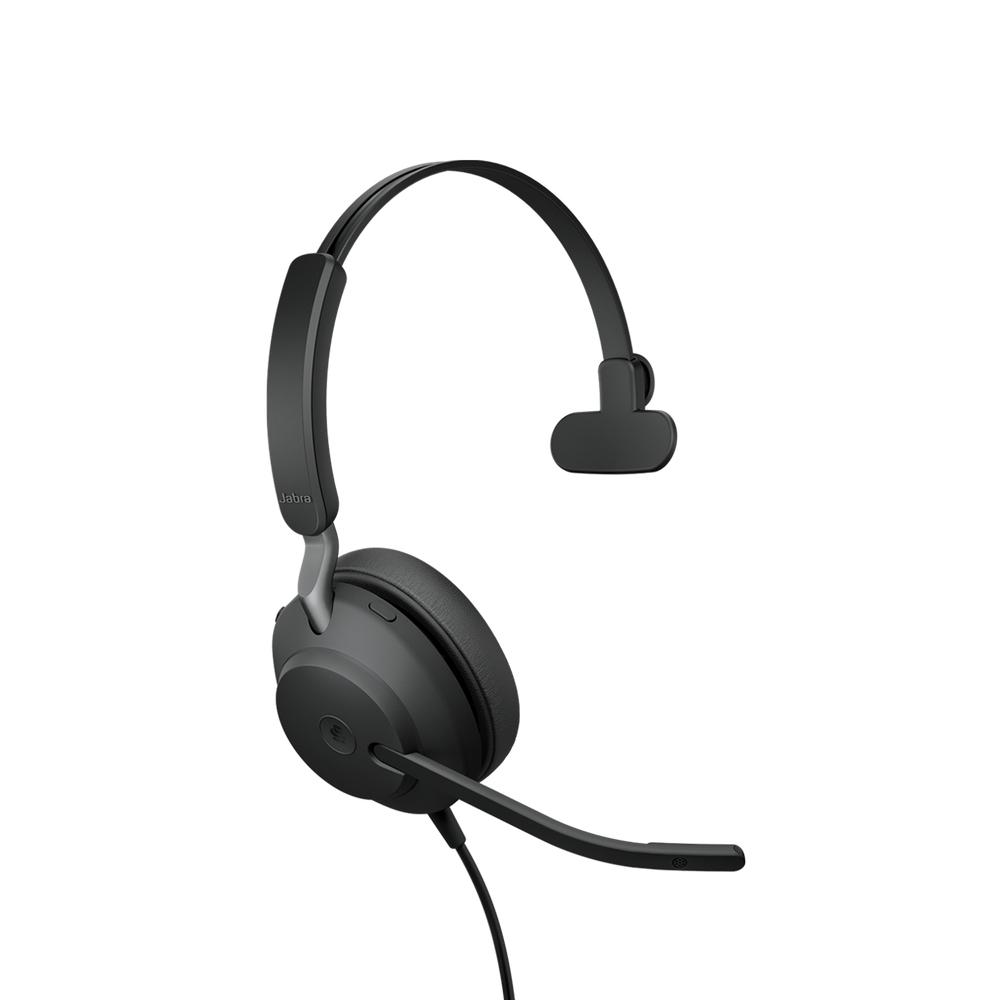 Jabra Evolve2 40, MS Mono Hodesett Hodebånd USB Type-A Svart