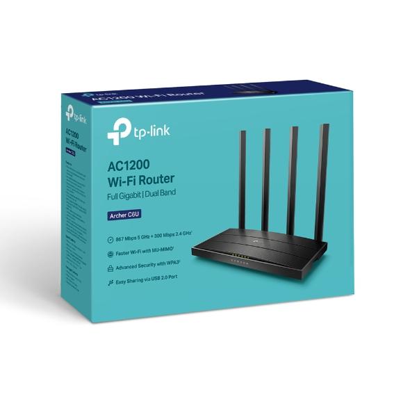 TP-LINK Archer C6U trådløs ruter Gigabit Ethernet Dobbelbånd (2.4 GHz / 5 GHz) Svart