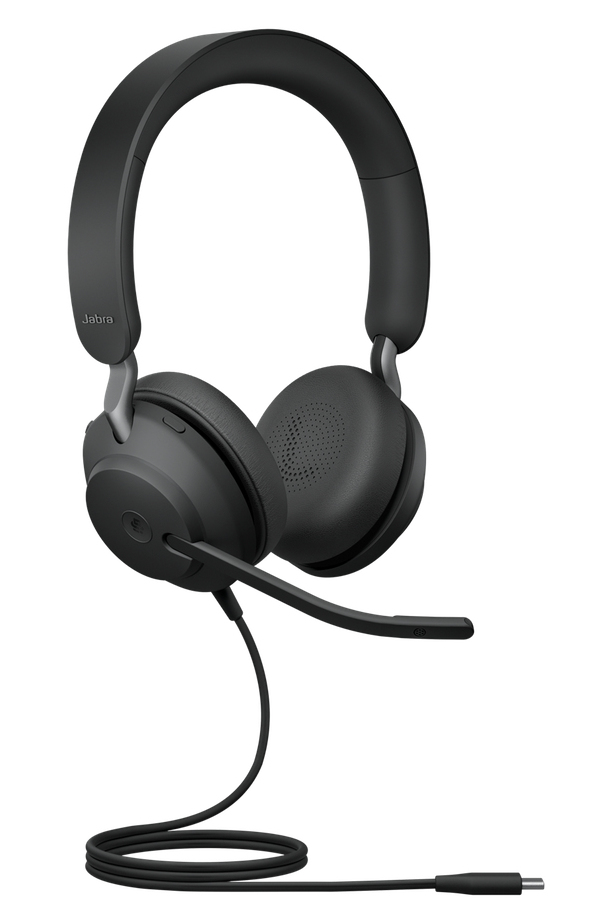 Jabra Evolve2 40, MS Stereo Hodesett Hodebånd USB Type-C Svart