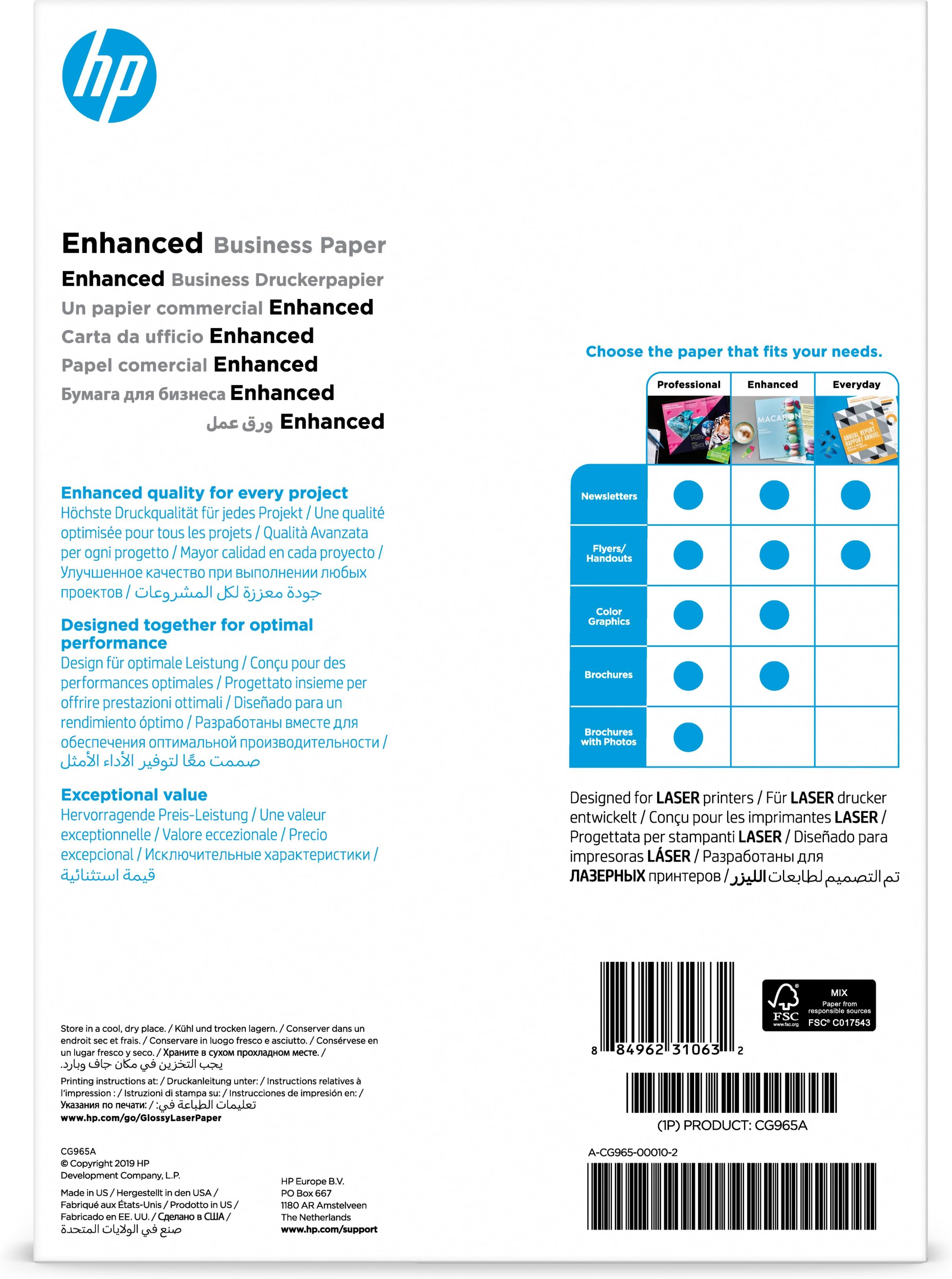 HP Professional glanset laserpapir 150 gsm – 150 ark/A4/210 x 297 mm