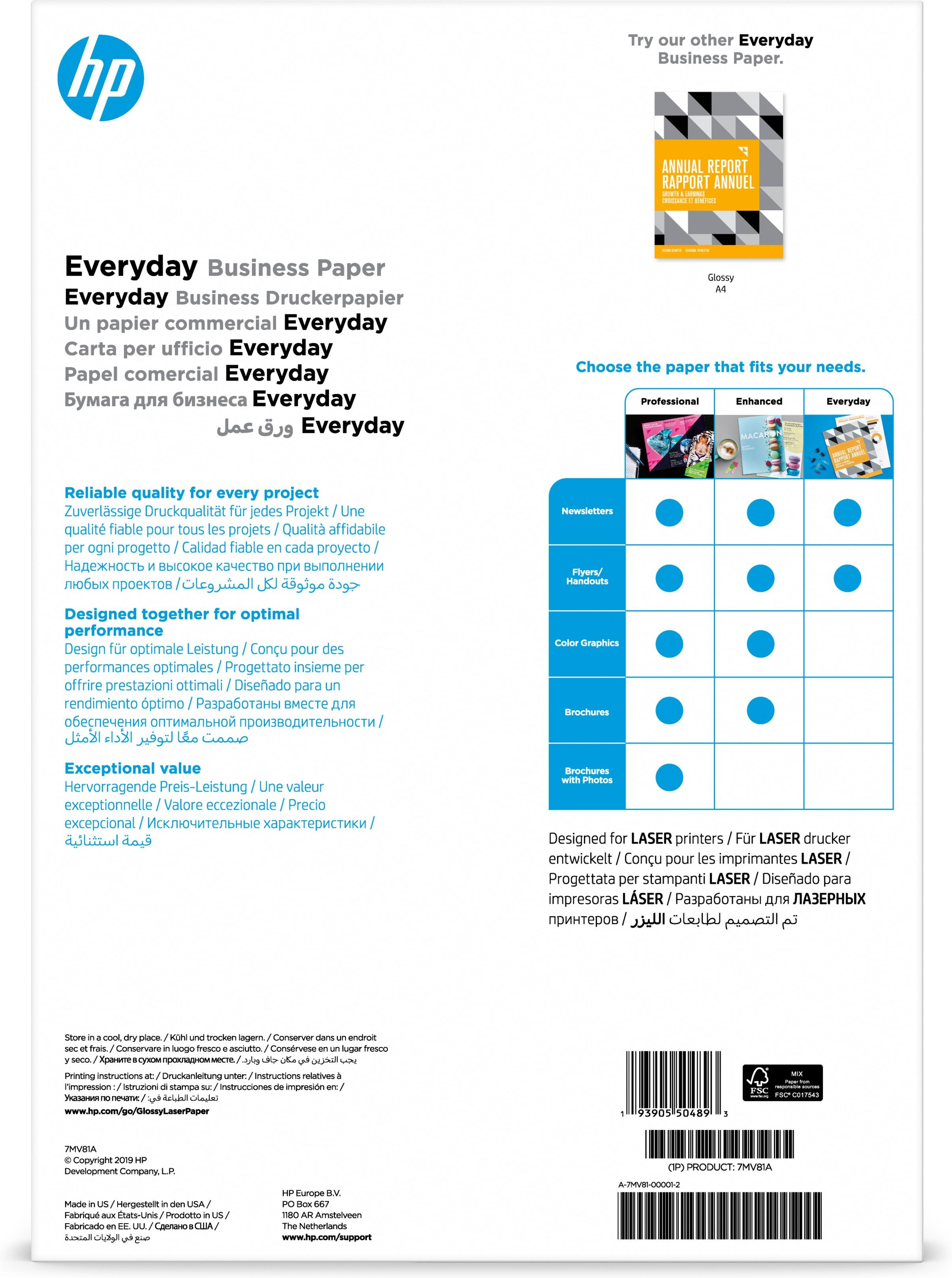 HP Laser Everyday forretningspapir – A3, glanset, 120 gsm