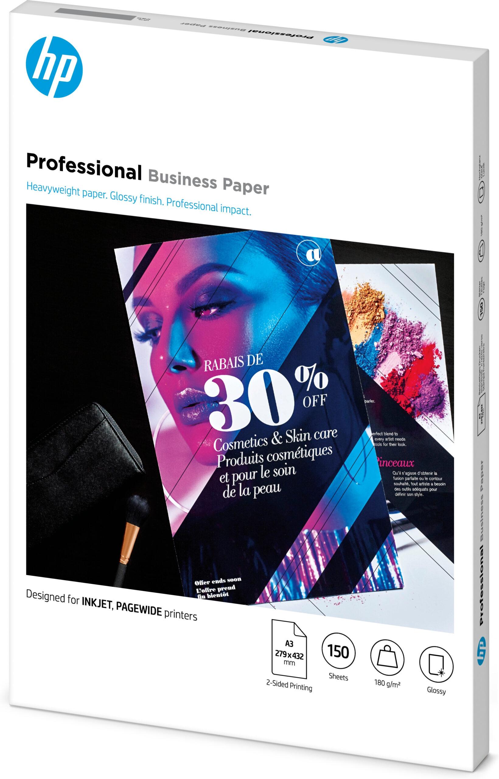 HP Inkjet og PageWide Professional Business-papir – A3, glanset, 180gsm